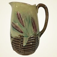 19th Century English Majolica Milk Pitcher Wheat Basket Pattern