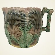 19th Century Etruscan Majolica Cider Pitcher Shell Seaweed Pattern