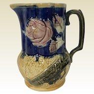 19th Century English Majolica Milk Pitcher Rose & Asian Motif