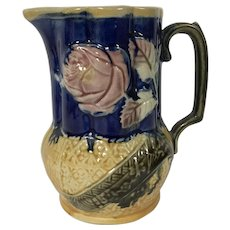 19th Century English Majolica Milk Pitcher Rose & Asian Motif