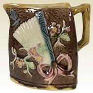 19th Century Triangle Majolica Milk Pitcher Sunflower Fan Japanese Motif