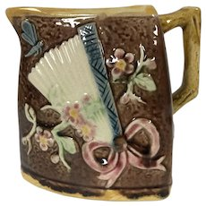 19th Century Triangle Majolica Milk Pitcher Sunflower Fan Japanese Motif