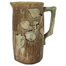 19th Century Majolica Milk Pitcher W/ Morning Glory Decoration