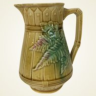 19th Century Majolica Milk Pitcher W/ Fern & Picket Fence Motif