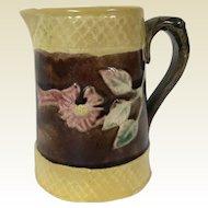 19th Century Majolica Creamer Pitcher W/ Cherry Blossom Motif
