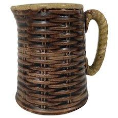 19th Century Majolica Creamer Pitcher W/ Woven Basket Motif
