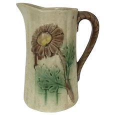 19th Century Majolica Milk Pitcher W/ Flower & Bamboo Motif