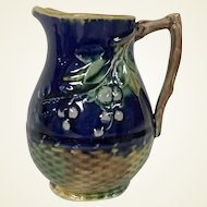 19th Century Majolica Milk Pitcher W/ Raspberry Woven Basket Motif