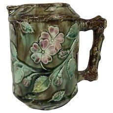 19th Century Majolica Milk Pitcher W/ Cherry Blossom Motif