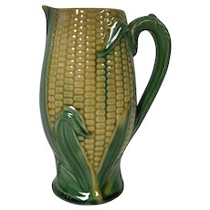 19th Century Majolica Milk Pitcher W/ Corn Motif