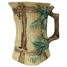 19th Century Majolica Milk Pitcher W/ Bamboo Motif