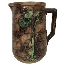 19th Century Majolica Pitcher W/ Barrel Bark Motif