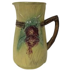 19th Century Majolica Pitcher W/ Morning Glory & Twisted Rope Motif