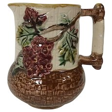 19th Century Majolica Pitcher W/ Blossom Woven Basket Motif