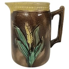 19th Century Majolica Pitcher W/ Wheat Motif