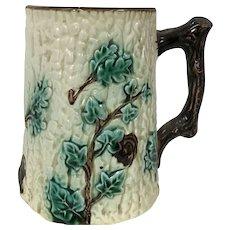 19th Century Majolica Pitcher W/ Oak Leaf & Tree Bark Motif