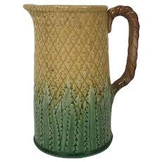 19th Century English Majolica Pitcher W/ Pineapple Decoration & Rope Handle