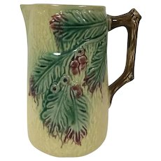 19th Century English Majolica Pitcher Holly Branches