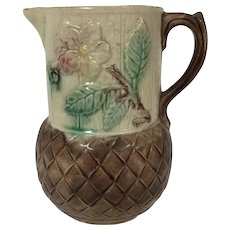 19th Century English Majolica Pitcher Cherry Blossom Decoration