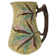 19th Century English Majolica Pitcher Woven Pattern