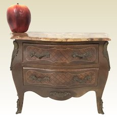 Miniature French Bombay 2 Drawer Chest W/ Fine Marquetry & Marble Top