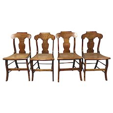 Set of 4 19th Century Tiger Figural Maple New England Saber Leg Chairs