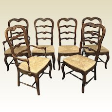 Set of 6 Hickory Country French Oak Dining Room Chairs