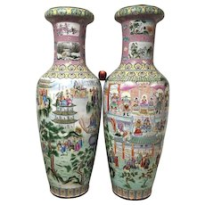 "Pair of Palace Size Republican Period Chinese Porcelain Vases 60"" tall"