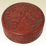 Vintage Chinese Round Cinnabar Covered Box