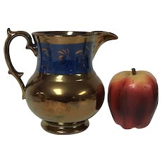 Antique English Copper Lusterware Pitcher W/ Floral Foliage Decoration