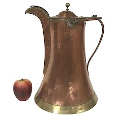 Large 19th Century Copper / Brass Water Coffee Pot Hand Forged