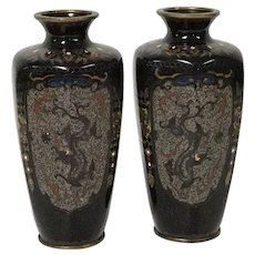Fine Pair of Mirrored Image Antique Japanese Meiji Period Cloisonne Vase