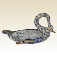 Rare Quimper Figural Pottery Swan Egg Server