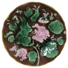 Antique Majolica Plate Decorated W/ Flower Leaves