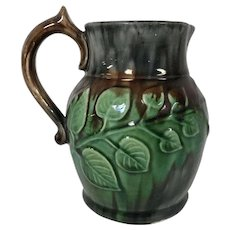Antique Majolica Pitcher W/ Apple Tree Branch Decoration Brown Gray Glaze