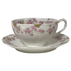 Limoges Tea Cup & Saucer Pink Rose Gold Decoration (7 available)
