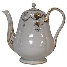 Antique 19th Century Popov Moscow Russian Porcelain Manufacturer Coffee Tea Pot