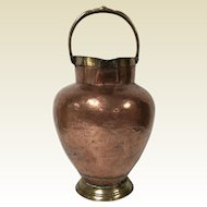 Antique French Hand Hammered Copper & Brass Pitcher