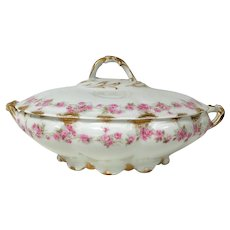 Limoges Porcelain Footed Round Covered Serving Bowl W/ Pink Rose Gold Decoration