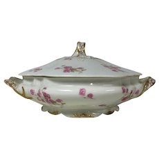 Limoges Porcelain Footed Round Covered Serving Bowl W/ Pink Rose Gold Ribbon