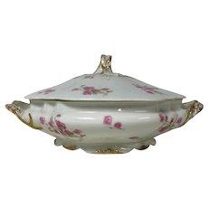 Limoges Porcelain Footed Round Covered Serving Bowl W/ Pink Rose Gold Ribbon