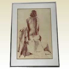 Enzo Torcoletti Original Painting Seated Nude