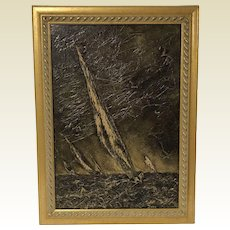 Mid Century Mix Media Painting Sail Boat Seagulls Signed Zens