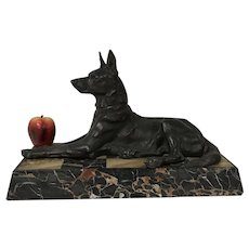 Maximilian Louis Fiot French Bronze sculpture of a German Shepard on marble base
