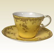 Antique Royal Worcester Yellow & Gold Decorated Tea Cup & Saucer