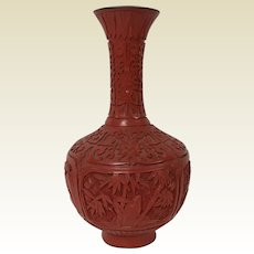 Chinese Cinnabar Vase W/ Bamboo & Flowers Carving