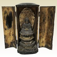 Antique Japanese Amida Nyorai Buddha Zushi Shrine Statue
