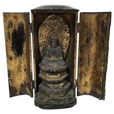 Antique Japanese Amida Nyorai Buddha Zushi Shrine Statue