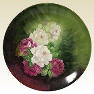 Large Italian Porcelain Hand Painted Pink White Rose Tray Charger Platter