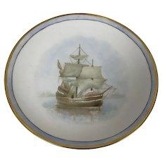 Hand Painted Bavarian Porcelain Plate W/ Hand Painted Sailboat Sail Ship Decoration